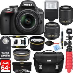 Nikon D3300 24.2MP DSLR Camera + DX 18-55mm & 55-200mm Dual NIKKOR VR II Lens Kit + 64GB Memory & Accessory Bundle + Photo Bag + Wide Angle Lens + 2x Telephoto Lens + Flash + Remote +Tripod+Filters. NIKON AUTHORIZED DEALER - Includes Full Nikon USA WARRANTY. Nikon D3300 DX-format DSLR Camera Kit w/ 18-55mm DX VR II & 55-200mm DX VR II Zoom Lenses and Case (Black). 24.2 MP CMOS DX-format sensor - 5.0 fps continuous shooting - 11 AF points with 3D tracking - ISO 100-12800 (expandable to…