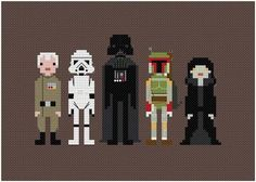Pixel People Star Wars Cross Stitch... The nerd in me is going to be glad I reprinted this one day I just know it