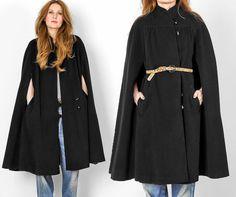 vintage 80s WOOL black Military Cape coat jacket by TinRoofVintage, $98.00