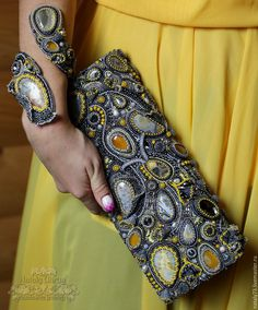 Buy Clutch Sunny way.Bag, bead embroidery, the authors work, agate natural Embellished Purses, Beaded Purses, Beaded Bags, African Accessories, Diy Fashion Accessories, Bag Accessories, Wire Jewelry Earrings, Soutache Jewelry, Beaded Clutch