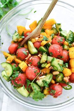 Cucumber, basil, and watermelon salad is the perfect refreshing summer meal.