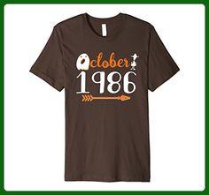 Mens October 1986 Shirt 31st Birthday Halloween T-Shirt Gift Medium Brown - Birthday shirts (*Amazon Partner-Link)