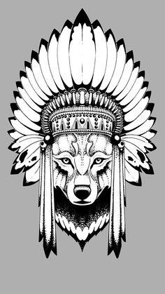 Images Wolves warbonnets Animals Gray background Vector Graphics 1080x1920 War bonnet