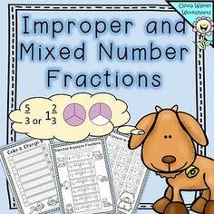 Improper and Mixed Number Fractions - Converting Mixed Numbers - Worksheets Improper Fractions, Fractions Worksheets, Number Worksheets, Elementary Teaching, 4th Grade Math, Greater Than, Algebra, Maths, Teacher Pay Teachers