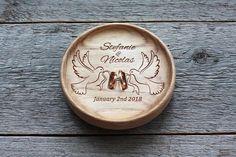 Wedding ring dish with names and date Alternative Wedding Rings, Wedding Rings Simple, Ring Holder Wedding, Ring Pillow Wedding, Wedding Plaques, Ring Dish, Ring Pillows, Wedding In The Woods, Personalized Wedding