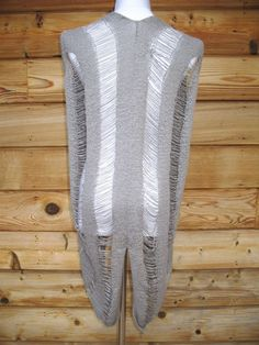 ONE GREY DAY SIZE SMALL M Distressed Tattered  DRAPE SWEATER Vest  Cotton #ONEGREYDAY #VestSleeveless