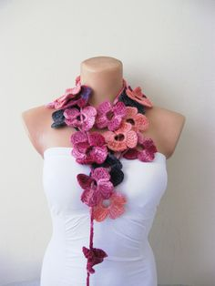 Another beautiful crocheted flower scarf