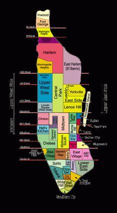 New York city map New York City Vacation, New York City Map, City Maps, New York Travel, Central Park, Carte New York, New York Bucket List, New York Neighborhoods, New York Shopping