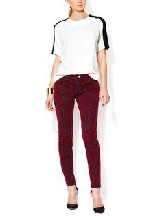 Velvet Printed Low Rise Skinny Jean