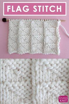 Learn to Knit this Flag Knit Stitch Pattern for Beginning Knitters with Video Tutorial