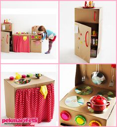 Kids' Crafts with Recycled Materials - Petit & Small Cardboard Kitchen, Cardboard Play, Cardboard Box Crafts, Cardboard Box Ideas For Kids, Diy Play Kitchen, Toy Kitchen, Diy For Kids, Crafts For Kids, Diy Karton