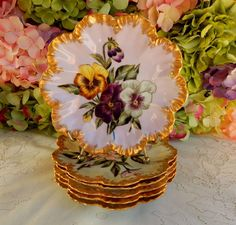 6 Antique Lanternier Limoges Porcelain Plates Hand Painted Gold Artist Signed #Limoges