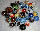Over 30 Old Vintage Marbles - Peltier - Akro Agate - etc. (Fleabites)  Lot # 11