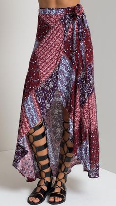 Breezin Side Slit Wrap Maxi Skirt in Burgundy Combo