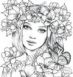 Fairy Coloring Pages, Adult Coloring Book Pages, Coloring Pages To Print, Printable Coloring Pages, Coloring Books, Kreative Portraits, Free Adult Coloring, Kids Coloring, Digital Stamps