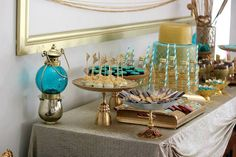 table setting. Gold for Glamour Vintage DIY tea party. Teal, gold, macarons, stencil cake, step by step DIY, Eid party