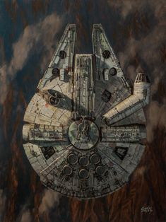 Star Wars: Approach by Dave Seeley - Millennium Falcon Star Wars Fan Art, Star Trek, Images Star Wars, Nave Star Wars, Cuadros Star Wars, Fantasy Star, Star Wars Painting, Star Wars Spaceships, Star Wars Vehicles