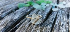 Sea Glass Rings Wire Wrapped Ring Sea Glass Ring by Cosbella