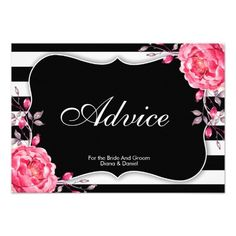 Personalized Black And White Stripe Wedding Or Marital Advice Cards (Double Side)