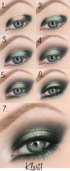 Dark green smokey eye.