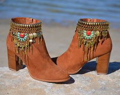 ETHNIC SUEDE BOOTS with heel by MISIGABRIELLA on Etsy