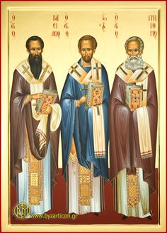 Sts Basil the Great, John Chrysostom & Gregory the Theologian Religious Images, Religious Icons, Religious Art, Byzantine Icons, Byzantine Art, Catholic Art, Catholic Saints, Early Christian, Christian Art
