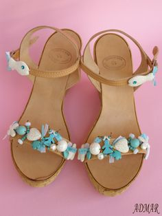 Handmade leather sandals with ceramic beads,glass beads,semi precious howlite,lava,swarovski and French ribbons