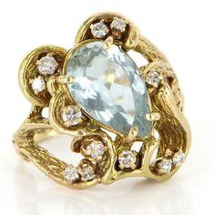 Vintage 14 Karat Yellow Gold Diamond Blue Topaz Nugget Cocktail Ring Estate Jewelry