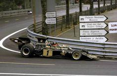 Emerson Fittipaldi lors du Grand Prix d'Espagne, à Montjuich en 1973