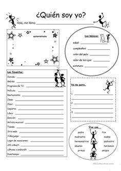 (Who am I?) - English ESL Worksheets for distance learning and physical classrooms Spanish Grammar, Spanish Vocabulary, Spanish 1, Spanish Language Learning, Spanish Teacher, Spanish Classroom Activities, Spanish Teaching Resources, Vocabulary Activities, Middle School Spanish