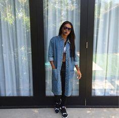 denim coat dope long black pants shoes sneakers black girls killin it african american glasses bralette cute fierce urban streetstyle streetwear jacket denim jacket