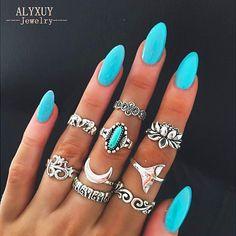 Aliexpress.com: Compre Prata antiga de lótus rabo de Peixe conjunto anel de dedo Nova moda vintage jóias presente para as mulheres menina R5044 de confiança ring set fornecedores em just do my best
