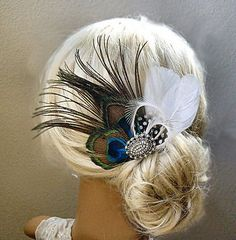 Bridal Peacock Feather Vintage Style Rhinestone Hair Clip Brooch Pin Fascinator