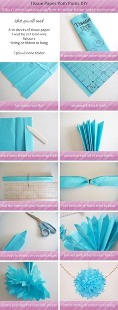 How to make tissue paper pom pom step by step for decor and party decorations Cute Crafts, Diy And Crafts, Arts And Crafts, Paper Crafts, Tshirt Garn, How To Make A Pom Pom, Wie Macht Man, Craft Party, Baby Shower Decorations