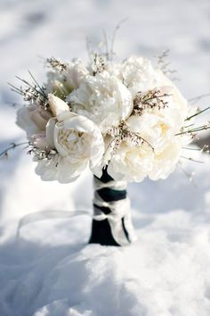 All white winter wedding bouquet