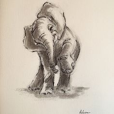 Little Elephant - ink wash painting