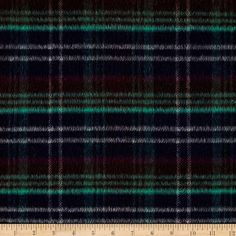 Wool Blend Plaid Navy/Jade from @fabricdotcom  Melton fabric is a dense tightly woven fabric that is felted and heavily brushed for an ultra soft hand. This versatile fabric can be used for coats, jackets, vests, blankets and historical clothing replications.