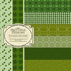 St Patricks Day Digital Paper Pack for Personal or Commercial Use