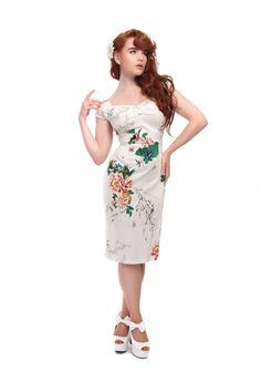 Collectif Vintage Dolores Blossom Print Pencil Dress