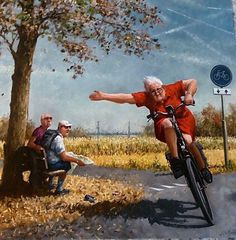 """A new Marius van Dokkum is always a good thing.go Granny go. Photo Velo, Ecole Art, Bicycle Art, Cycling Art, Dutch Artists, Painting & Drawing, Watercolor Art, Illustrators, Illustration Art"