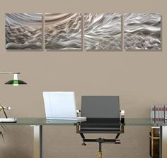 Elegant Etched Silver With Fusions of Gold Contemporary Abstract Hand-Made Metal Wall Art - Home Accent, Modern Home Decor, Set of Four - Entanglement by Jon Allen Jon Allen Metal Art - Statements2000 http://smile.amazon.com/dp/B00KQULG34/ref=cm_sw_r_pi_dp_2fHWwb09F8FZD