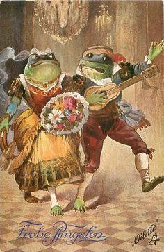 two dressed frogs, male plays mandolin, female carries flowers