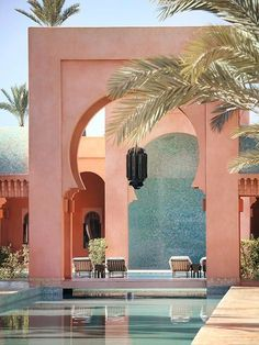 Take me there ✨ The striking architecture of Amanjena in Marrakech, Morocco. Oh The Places You'll Go, Places To Travel, Travel Destinations, Moroccan Tiles, Moroccan Decor, Travel Inspiration, Travel Ideas, Travel Guide, Beautiful Places