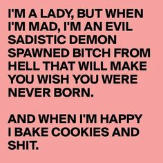 I'm a lady, but when I'm mad, I'm an evil sadistic demon spawned bitch from hell that will make you wish you were never born. And when I'm happy, I bake cookies and shit. Hell Quotes, Mad Quotes, Bitch Quotes, Crazy Quotes, Badass Quotes, Truth Quotes, Work Quotes, Life Quotes, Boyfriend Quotes Relationships