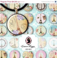75% OFF SALE FRENCH Love Digital Collage Sheet 1 by cameoshoppe