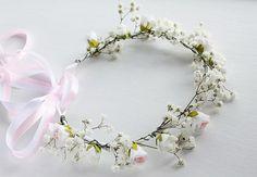 Baby's Breath & Rose Crown Flower Girl Crown by HandyCraftTS