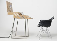 'Klippen Klappen' #desk by #GregorKorolewicz is a combination of traditional mechanics and modern-day functionality. Aside from the storage of desktop accessories, the desk also includes a power-supply hub for electronic peripherals. Inspired by traditional sewing boxes, it compactly hides every object or working tool you put inside, while opened it is a minimal and functional desk.