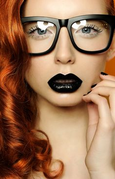Black Rim Eyeglasses. Lips. Black. Lipstick. Ginger Hair. Model. Beauty.