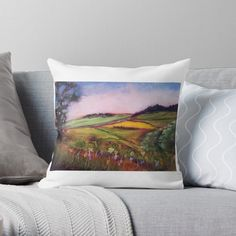 Green Throw Pillows, Green Fields, My Arts, Vibrant, Tapestry, Art Prints, Landscape, Printed, Awesome