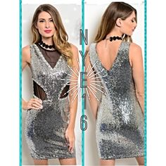 """Silver Sequin NYE16 Dress w/ Black Mesh & Gems Ring in the New Year with this super sexy sparkling silver sequin dress! This sequins mini dress features mesh panel inserts throughout and a sexy bodycon fit. Very comfortable. Has a zipper back for ease in putting on. Pair with your sexiest heels and rock the night away! Length is approximately 33"""" from top of dress to bottom. Have small, medium and large. Fits true to size. S is 2-4, M is 6-8, L is 10-12. ❗️Price is firm unless bundled.❗️…"""
